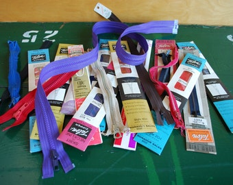 Vintage Zippers, Mixed Lot of Neck and Dress Zippers, Talon Brand