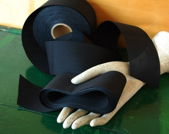 "Black Ribbon, 10 Yards x 2 3/8"", Trimmed Fabric Ribbon, Black Polyester Blend"