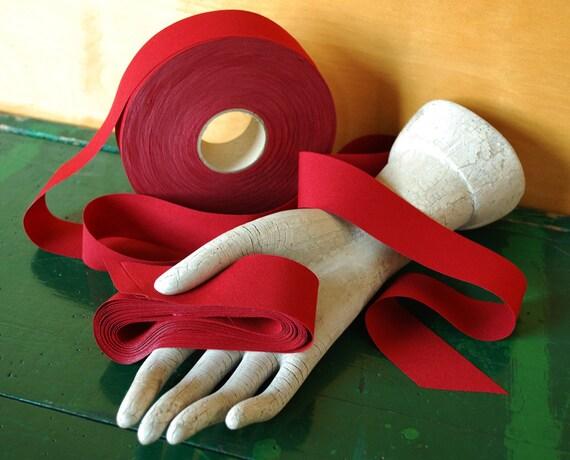 Deep Red Ribbon Fabric Trim, 1.25 inch wide, 20 Yards Long, Destash Ribbom