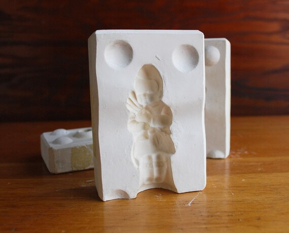 Vintage Plaster Mold - Scottish Boy with Bagpipe