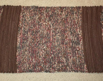 Handwoven Rag Rug - Variegated Browns with Barn Red & Chocolate Brown Borders - 46 inches....(#14)