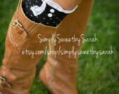 White Polka Boot Socks with lace knit trim & buttons - lace socks