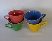 Vintage Homer Laughlin Fiestaware Cups, 4 pc. asst colors - RESERVED