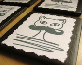 A Cat in Disguise - Mustache Cat Ceramic Tile Coasters