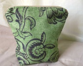 Small Cosmetic Bag - Green Flowers
