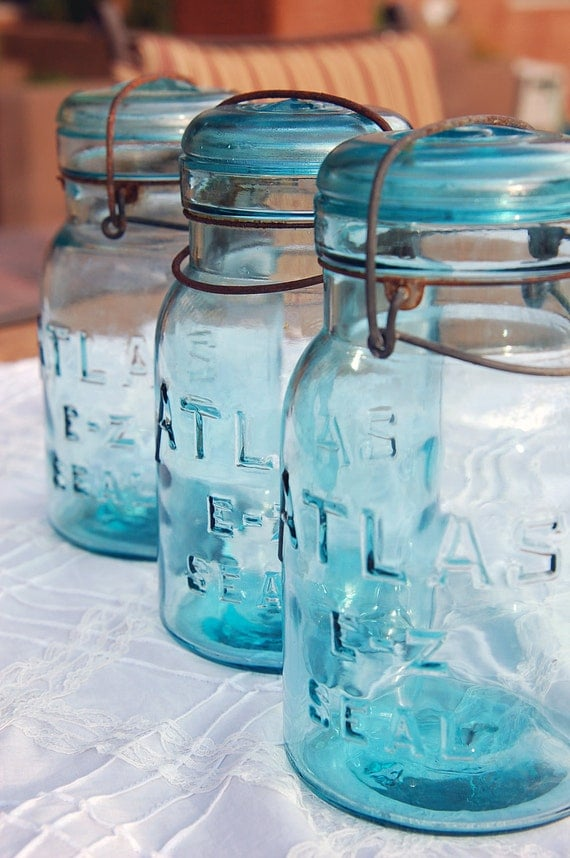 Three Atlas E-Z Seal Lightning Jars