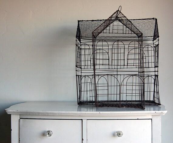 Primitive Colonial House Birdcage