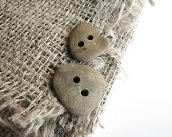 Natural Stone Buttons - Double Drilled Flat Sea Pebbles