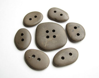 Stone Buttons - Drilled Beach Stones, Flat Smooth Pebbles