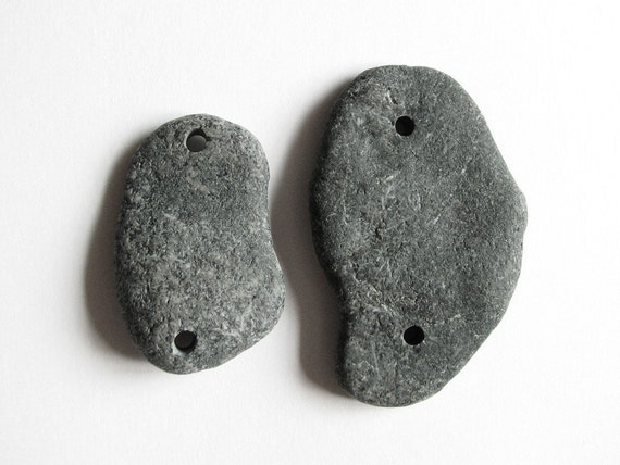 Double Drilled Pebbles - Raw Beach Rocks
