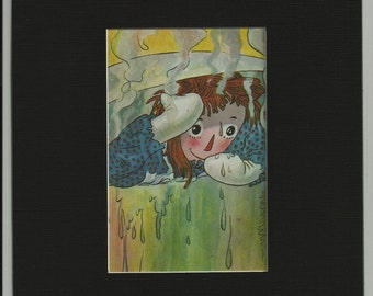 Raggedy Ann In a Pot  Matted Book Page