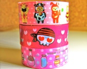 Deco tape in Japanese Washi Style -Cartoon sticky tape in pink pattern -15yards total length WE LOVE JAPAN