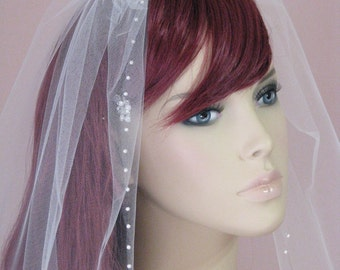 Pearl Love Wedding Veil Pearl Veil Fingertip veil