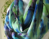Handmade Infinity Scarf  in Blue, Purple and Lime Green Colorful Tie Dye Design Double Length Eternity Scarf