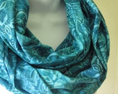 Turquoise Infinity Scarf in Cotton Batik with Blue, Aqua, Teal Floral Batik Double Loop Scarf Handmade Summer Fashion by Thimbledoodle