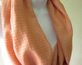 Raw Silk Infinity Scarf Coral Apricot Textured Silk Summer Fashion Handmade by Thimbledoodle