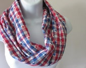 Infinity Scarf  Red White and Blue Check Plaid With Metallic Stars Patriotic Americana 4th of July Handmade by Thimbledoodle