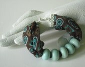 Fiber Beaded Bracelet in Brown Turquoise Geometric Design with Aqua Porcelain Beads Handmade Fall Fahion Jewelry