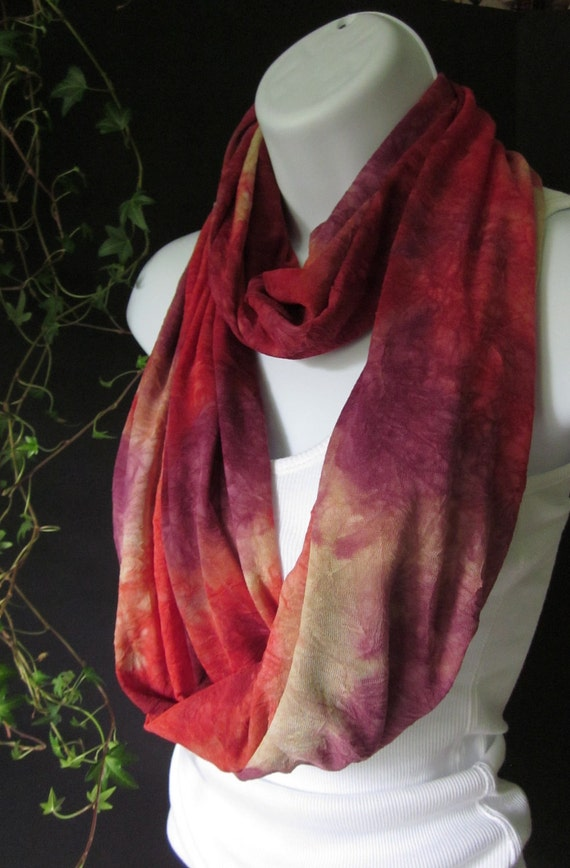 Infinity Scarf Knit-Double Loop  Tie Dye Red and Purple in a Crinkle Crepe Knit Flaming Autumn Fall Colors Last One