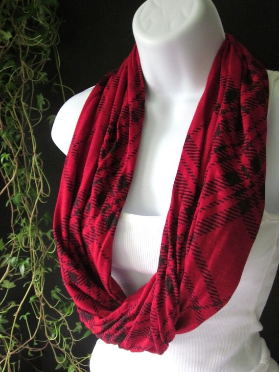 Infinity Scarf with Red and Black Plaid in a Slub Jersey Knit Eternity Scarf SIngle Loop