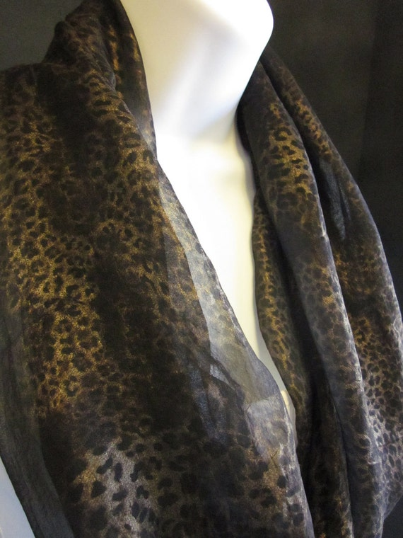 Black Chiffon Animal Print Infinity Scarf with Gold Metallic Foil Cheetah or Leopard Print Single Loop