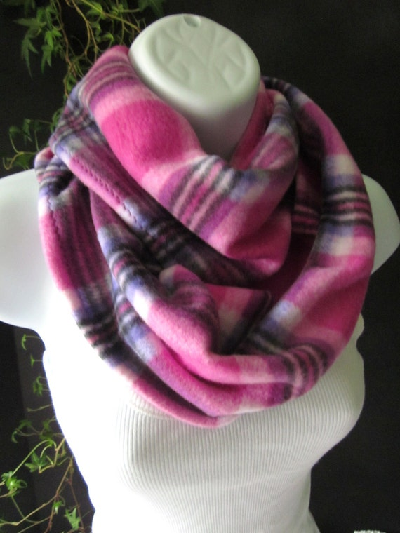 Plaid Fleece Infinity Scarf In Fuchsia Pink And Purple Plaid