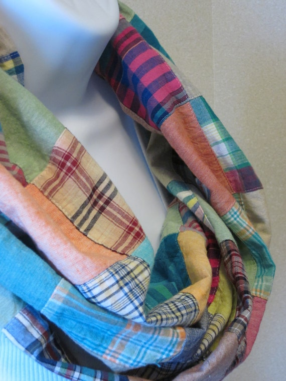 Chunky Infinity Scarf Patchwork Infinity Cowl Scarf Cotton Plaid patches in Shades of Teal, Fuchsia and Brown