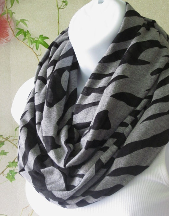 Infinity Scarf in Soft, Heather Gray Knit with Zebra Sheer Black  Burnout  Design Double Loop Scarf Handmade Fashion by Thimbledoodle