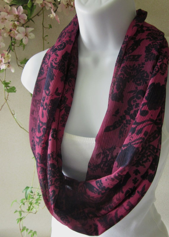 Infinity Scarf in Merlot Wine and Navy Floral Print Single Loop Scarf Handmade Fashion by Thimbledoodle