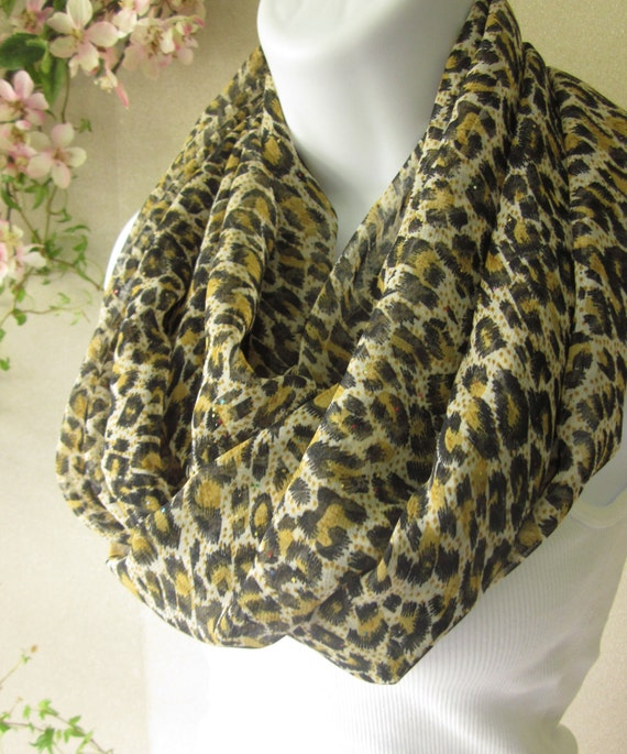 Autumn Scarf Leopard Scarf in Black and Gold with Subtle Glitter Double Loop Fashion Scarf  Handmade by Thimbledoodle