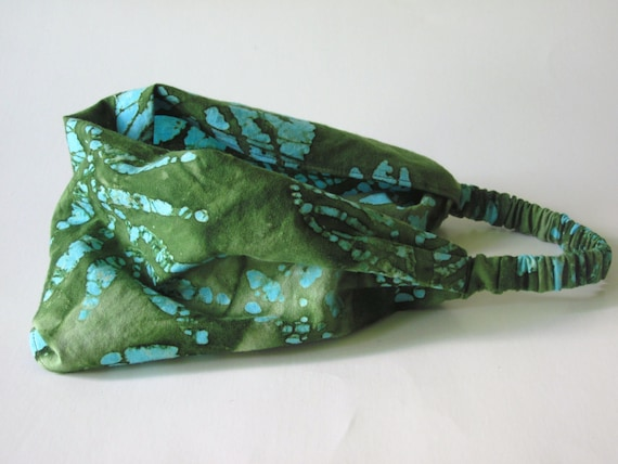 Cotton Batik Head band, Head Wrap in Green and Turquoise with Jungle Leaves, Palm Branches and Flower Batik Design Handmade by Thimbledoodle