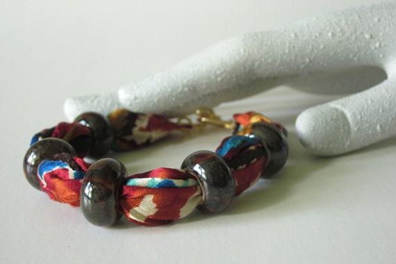 Beaded Fabric Bracelet Bangle in Tribal Print Brown Beads Handmade Autumn Fashion Jewelry