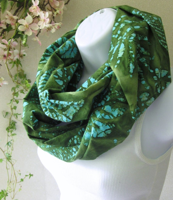 Summer Fashion Infinity Scarf Cotton Batik Olive Green, Sage and Turquoise Jungle Leaves Design Double Loop Scarf Handmade by Thimbledoodle