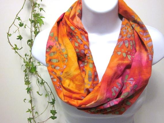 Cotton Batik Infinity Scarf in Hot Tangerine Tango, Flamingo Pink, Orange, Hot Pink, Purple and Green Psychedelic Medallion Batik Print