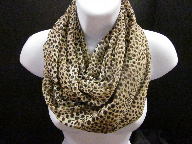 cheetah animal print infinity scarf with a brown and metallic
