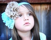 Baby Blue and Brown Double Ruffle Flower Headband