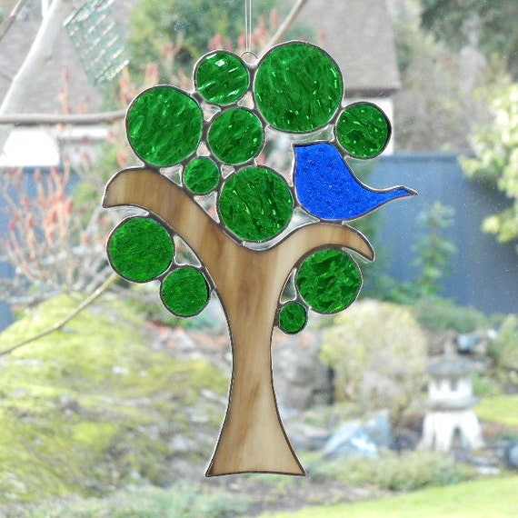 Stained Glass Suncatcher: Love Bird in a Tree