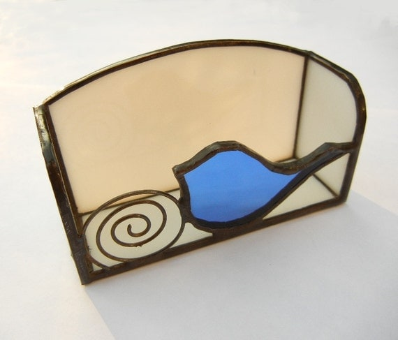 Business Card Holder: Bird in Blue Stained Glass