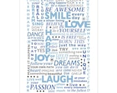 Be Happy Poster typography print Large Size Blue and Gray