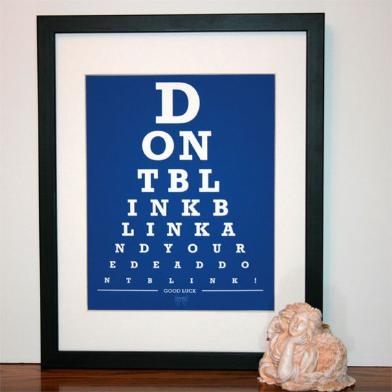 Doctor Who Don't Blink Eye Chart print SMALL VERSION 8x10