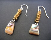 Abalone Shell and Brass Bead Earrings