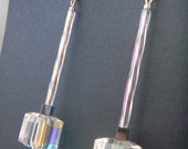 Swarovski Crystal Cube with Hematite and Glass Bead Earrings