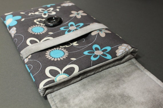 Kindle 3 Case / Kindle 3 Cover / Kindle Case / Kindle Cover - Turquoise Flowers on Gray