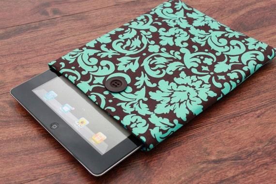 iPad Cover, iPad 3 Cover, iPad Case, iPad 3 Case, iPad 2 Cover, iPad 2 Case - Blue Damask on Brown