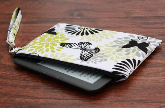 Kindle Fire Cover, Kindle Fire Case, Kindle Keyboard Cover, Kindle Keyboard Case, Kindle Cover, Wristlet - Flowers & Butterflies