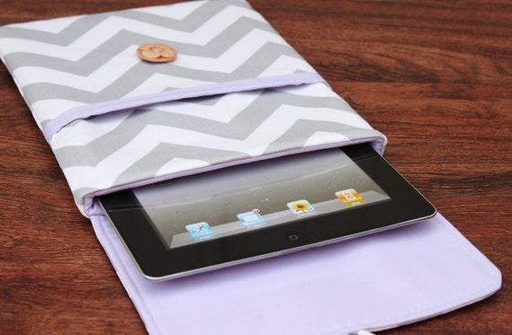 iPad Cover, iPad 3 Cover, iPad Case, iPad 3 Case, iPad 2 Cover, iPad 2 Case, iPad 3, iPad - Gray / Purple Chevron