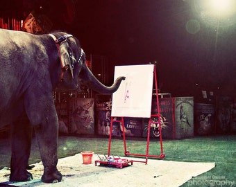 Whimsical Circus Elephant Photograph - Elephant Artiste - Magical Performing Artist Painter - 8x10 Fine Art Photo Print