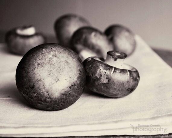 Food Photography - Black and White Still Life Mushroom Photo - 8x10 Fine Art Photography