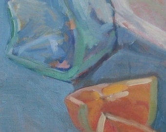 """Oil Painting Abstracted Orange Blue 8""""x10""""Bottle"""