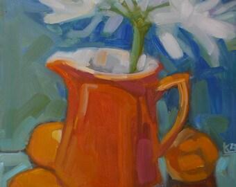 "New Original Oil  of ""Reflecting Oranges"" on panel 10"" x 8"""